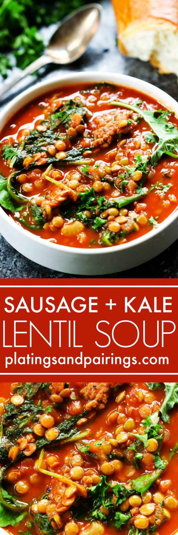 This Hearty Sausage, Kale & Lentil Soup will warm you up and keep you wanting more! | http://platingsandpairings.com