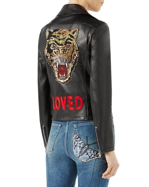41b366e5e Women's Loved Tiger-embroidered Leather Jacket - Black | Wantlist ...