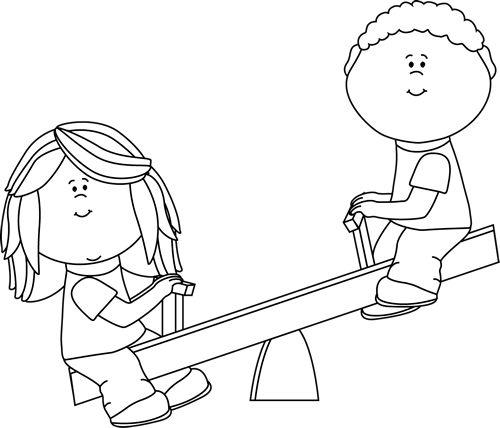clip art black and white   Black and White Kids on Teeter Totter Clip Art Image - black and white ...