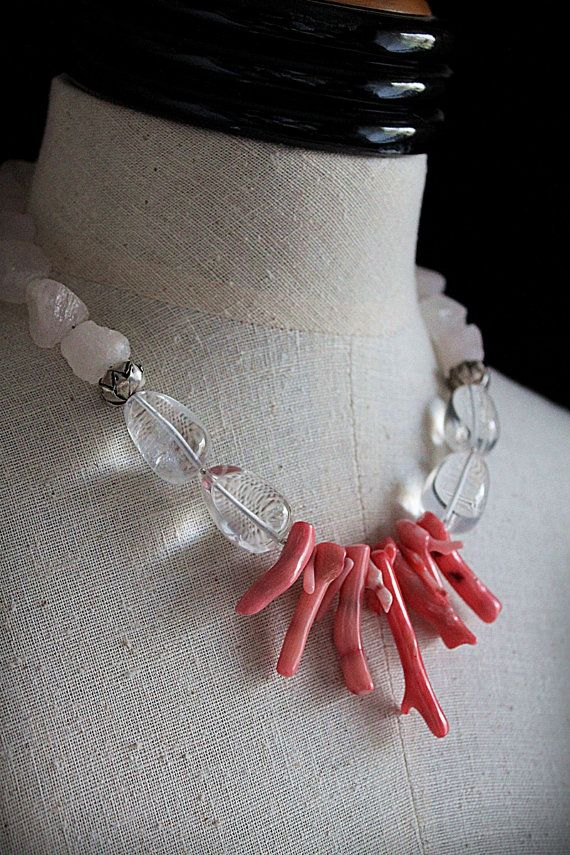 ROCK ON Rock Crystal Rose Quartz  Coral Necklace от carlafoxdesign, $125.00