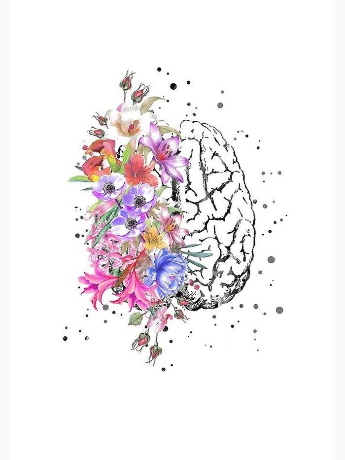 Half Brain Half Flowers Colored Drawing How To Draw A Rose Easy White Background Cute Flower Drawing Flower Drawing Brain Art