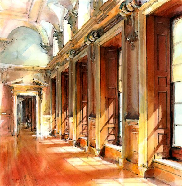 Architectural Perspective - Watercolor illustration, Historic Building by John Walsom. I find detailed watercolor like this amazing, that is a more abstract medium for me... Never been able to control it enough to make anything detailed. Nice job!