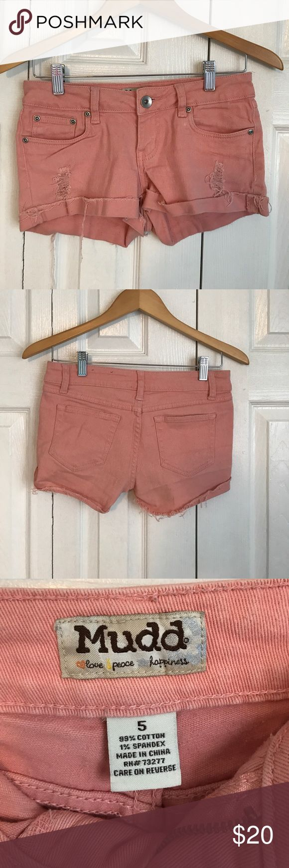 Cute junior coral jean shorts These shorts are perfect for the summer. They are very comfortable and in good condition. They are the ripped jean style. If you have any questions, feel free to contact me! Mudd Shorts Jean Shorts