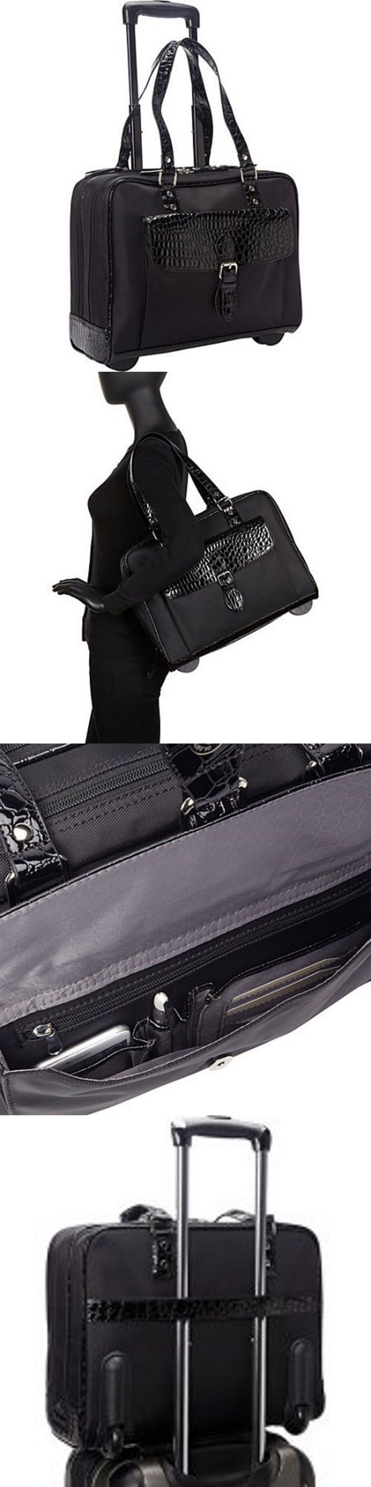 Briefcases and Laptop Bags 169293: Rolling Laptop Bag Tote Travel Briefcase Women Black Nylon Computer Wheeled Case -> BUY IT NOW ONLY: $90.99 on eBay!