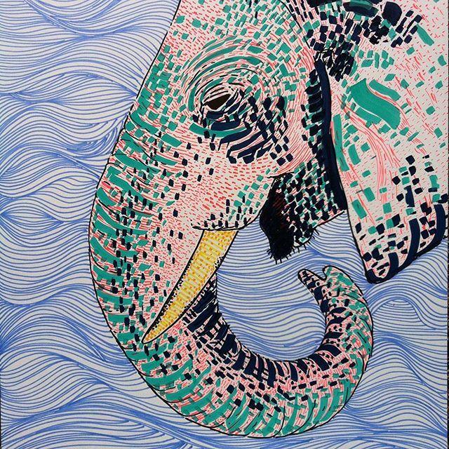 "My first big elephant made with liquitex paint markers, love them!!! (33,5. x 43,1 cms ) // mi primer ""gran"" elefante hecho con marcadores liquitex !! #liquitex #liquitexpaintmarker  #elephant #drawing #illustration #ilustration #linedrawing #color #laart #laartist #artwork #artist #art_spotlight #artcollective #artpop #artgallery #canson #cansonpaper #bristolpaper #katzferoz #animalillustration #bogotart #elephantparade #bogoartistascomparte #handmade #losangelesartist #artsharela ...."