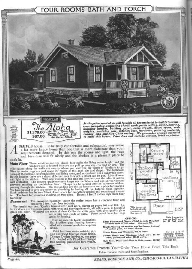 Sears Bungalows for Sale, 1921 Catalog House Plans: Sears Modern Home No. 7031, The Alpha, circa 1921