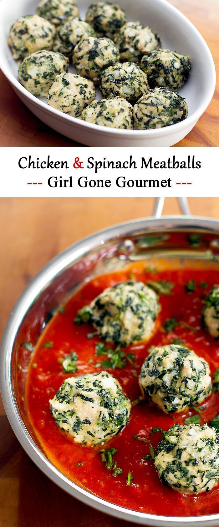Easy to make chicken and spinach meatballs - perfect with pasta!   girlgonegourmet.com