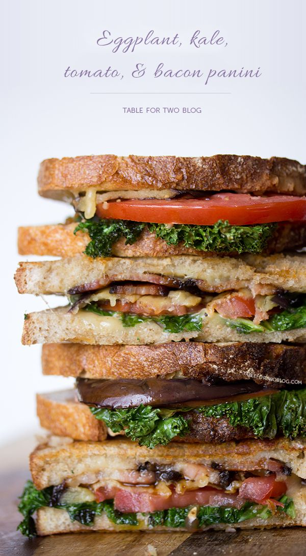 Eggplant, kale, tomato, and bacon panini | www.tablefortwoblog.com @Julie Forrest Forrest {Table for Two}