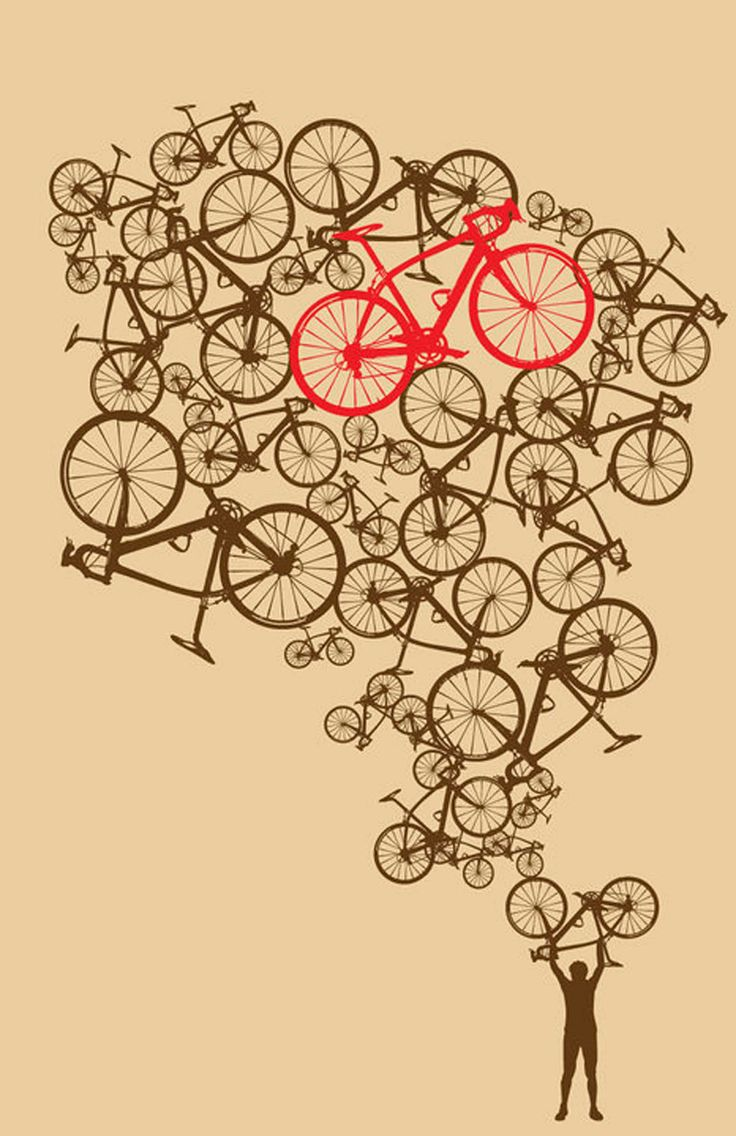 11 x 17  Illustrated Stacked Bikes Print. $21.00, via Etsy.