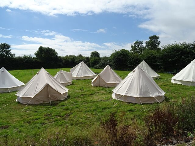 Medium Canvas Bell Tent Awning 360 x 240-2 pole By Bell Tent Boutique NOT TENT
