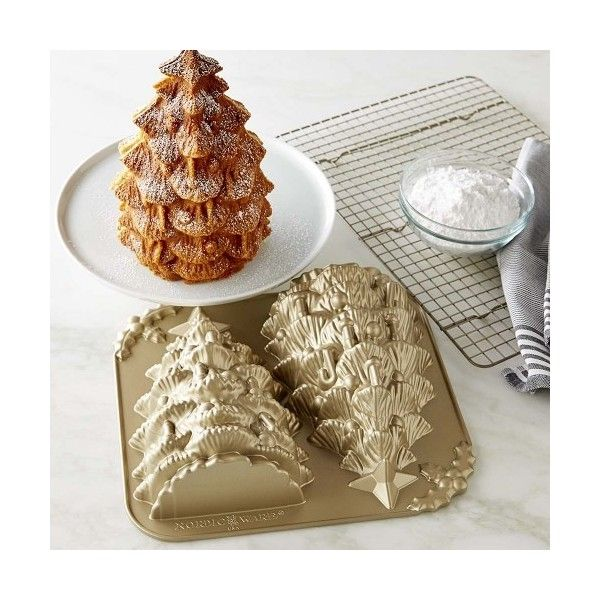 Williams-Sonoma Nordic Ware Tree Cake Pan (2.350 RUB) ❤ liked on Polyvore featuring home, kitchen & dining, bakeware, aluminum cake pan, cake bakeware, cake pans, nonstick bakeware and nonstick cake pan