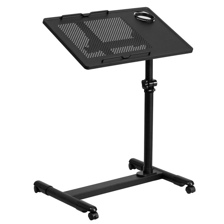 Jude Steel Height-adjustable Mobile Computer Desk with Pen and Cup Holder