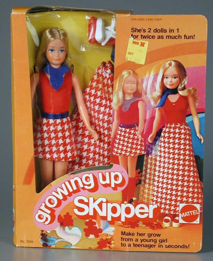 Growing up Skipper...you turned here arm and her boobs would grow,,my cousin susie got this one yr.and we was laughing at the doll and said,what if we turn your arm,this next yr her boobs grew,we laughed at that..i guess u had to be there..lol