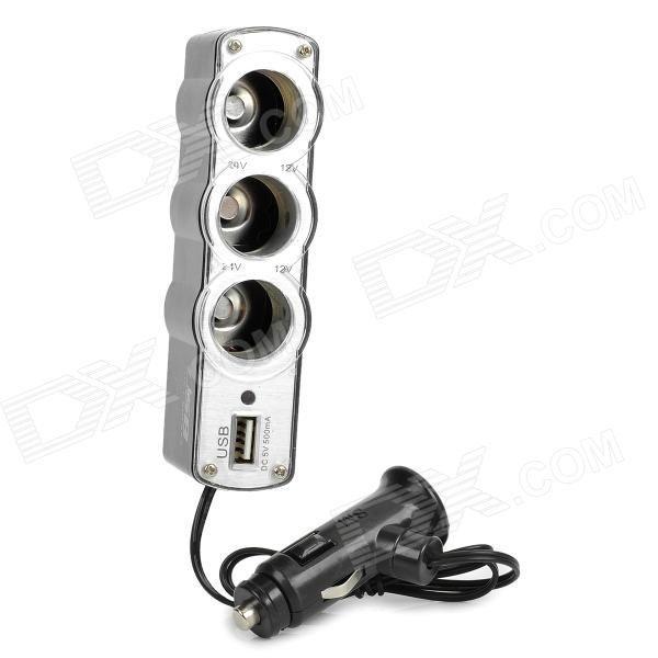 Triple Car Cigarette Sockets Power Adapter Charger with USB Port (12~24V).jpg