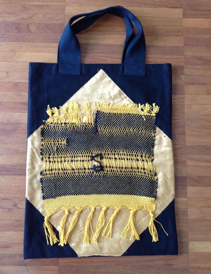 borsa con inserti  tessitura e seta shantung