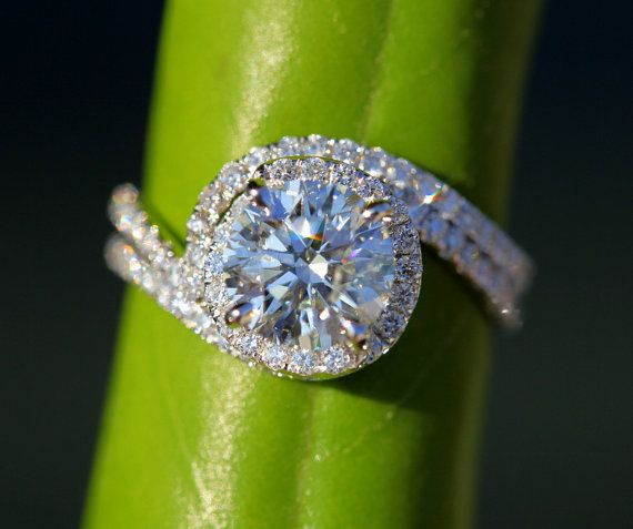 Wedding Set - 14k White gold - Diamond Engagement Ring and matching band - Halo - UNIQUE - Thin Swirl - Pave - Bp0013 Unique and Gorgeous!!! The band fits with the ring perfectly. $4,000.00