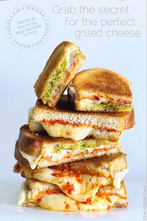 Roasted Pepper & Pesto Grilled Cheese