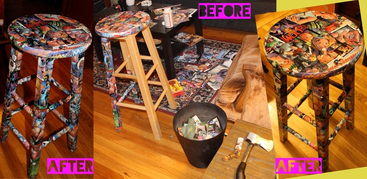 Buffy The Vampire Slayer Comic Book Mod Podge Stool! DIY By the Lollie Company ;) Before and After