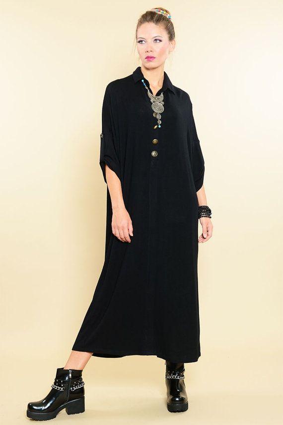 Long Black Dress For Women Fall Dress Destan Type by handorra