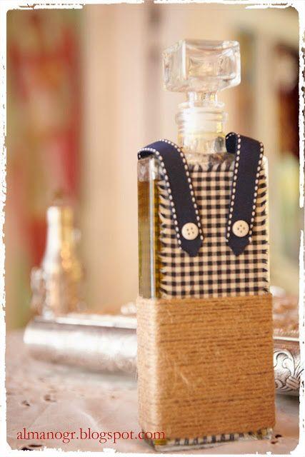Bottle for olive oil decorated with natural cord, checks fabric and ribbon - Μπουκάλι λαδιού στολισμένο με σπάγγο, ύφασμα και κορδέλα #bottle #christeningbottle #handmadedecor #almanogr #μπουκαλιλαδιου