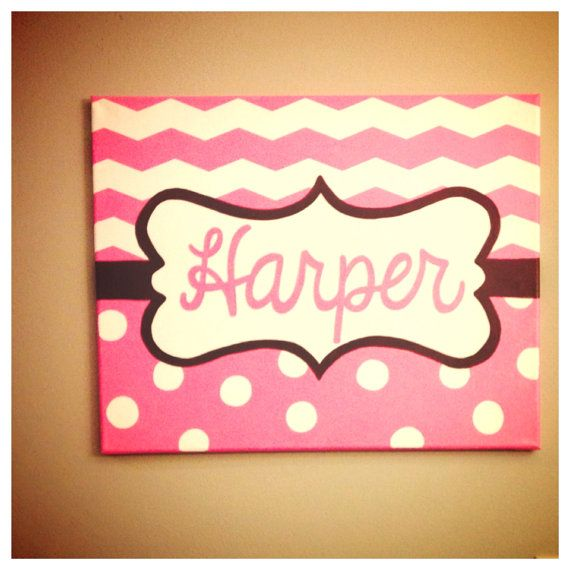 Hand painted name canvas baby girl nursery by TheCraftyFoxLR, $35.00