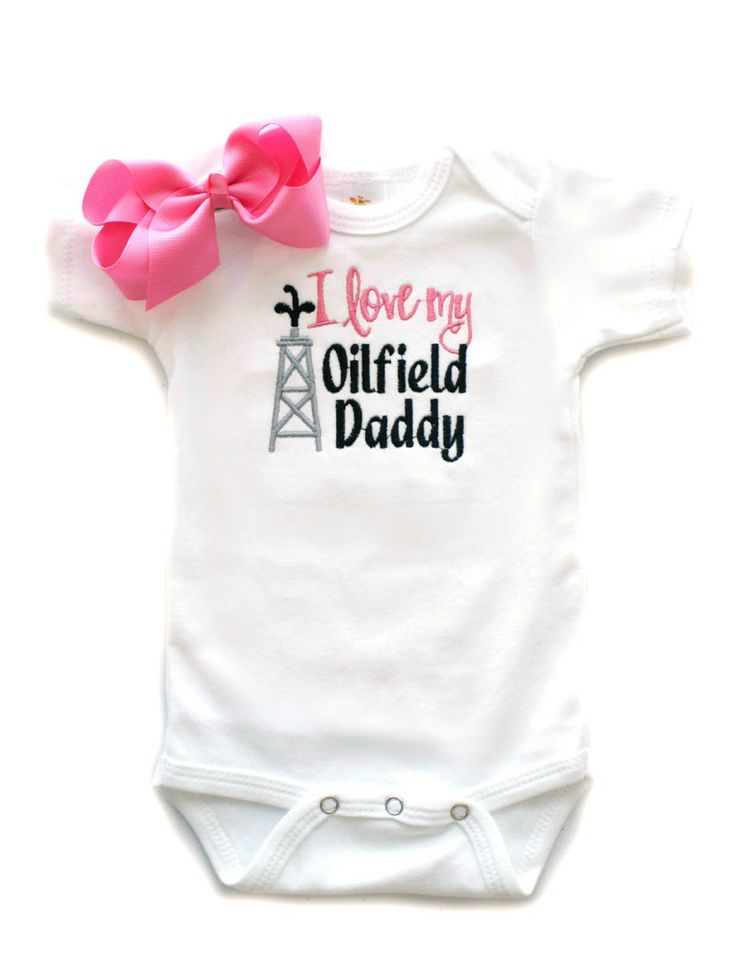 Oilfield Daddy Baby Girls Boutique Clothing Father Baby Shower Gifts | All That Sass Boutique http://www.allthatsassboutique.com/collections/retail/products/i-love-my-oilfield-daddy-w-bow