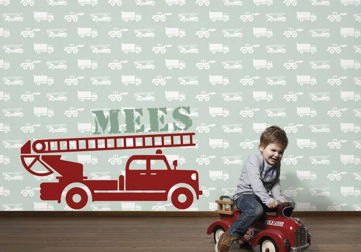 Mural auto's met brandweer en naam | wallpaper | behang | Tinkle&Cherry | www.tinklecherry.nl