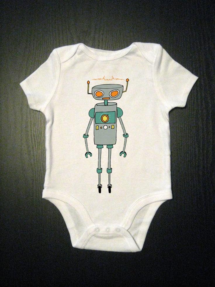 //Robot Onesie - Baby Clothes - Kids Shirt. $14.00, via Etsy.