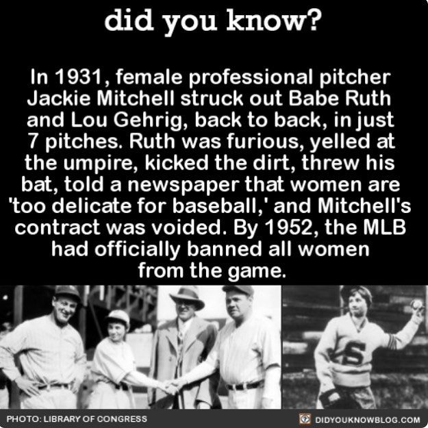 All cuz he lost to a girl. Yeah, Babe Ruth, more like big baby!!