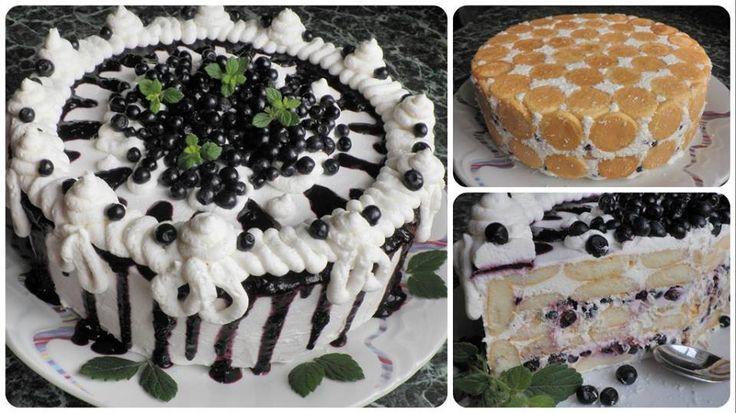 Nepečená piškótová torta s čučoriedkami od Danulky