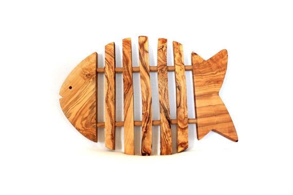 Olive Wood Rustic Trivet Fish Shaped For Hot Plates by OLIWOODMART, €22.99