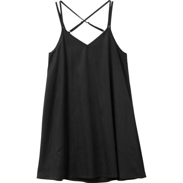 RVCA Women's Naveena Swing Tank Dress ($45) ❤ liked on Polyvore featuring dresses, black, rvca, v neck tank dress, v-neck dresses, v neck dress and strappy dress
