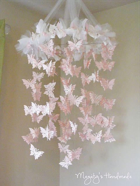LOVE this DIY Butterfly Chandelier Mobile. I'm thinking maybe stars and moons for my baby boy's room though