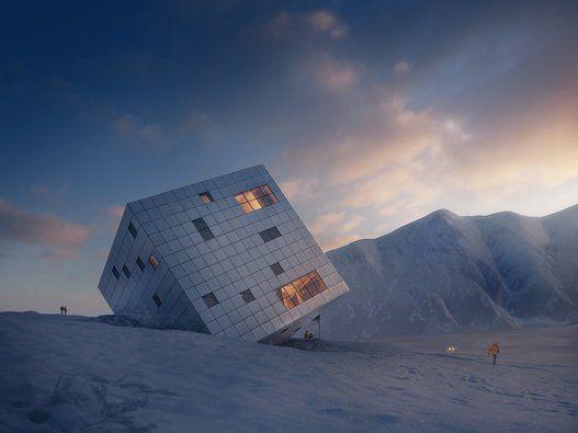 Un refuge de montagne irréel imaginé pour le massif des Tatras en Slovaquie. Imaginé pour une compétition internationale, ce cube qui semble posé sur la glace pourrait être bâti dans le massif des Tatras, à la frontière de la Slovaquie et de la Pologne, qui hébergent plusieurs stations de ski. À l'intérieur, un restaurant, des aires de repos, et des espaces de stockage pour les skis.