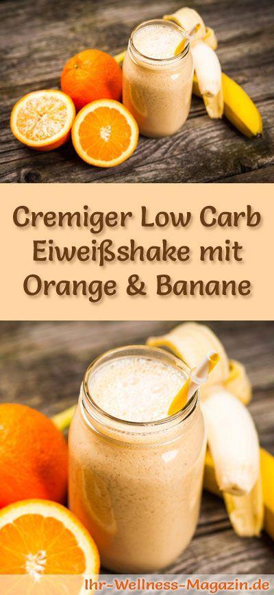Eiweißshake mit Orange selber machen - ein gesundes Low-Carb-Diät-Rezept für Frühstücks-Smoothies und Proteinshakes zum Abnehmen - ohne Zusatz von Zucker, kalorienarm, gesund ... #eiweiß #eiweissshake #lowcarb #smoothie #abnehmen