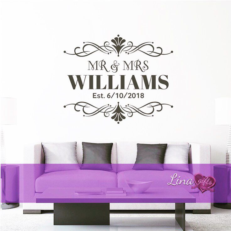 Personalised Mr Mrs Wall Art Sticker Decal Designed By Me Linagifts Wall Stickers Mrandmrs Personalised Sticker Art Sticker Wall Art Decal Design