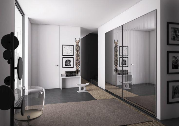 RAGGIO complanare a due ante in specchio inciso argento | With two flush sliding doors in silver etched mirror | PIANCA | www.pianca.com