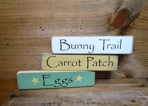 "This set of 3 Easter / Spring stackable signs measure 9"" Long by 2"" High. They look great on a shelf, window sill, atop of a door or just randomly scattered. One is painted Tourmaline green, one Beesw"