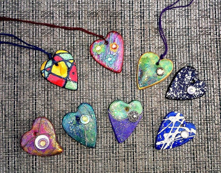 Salt dough heart pendants. Painted with nail poli…