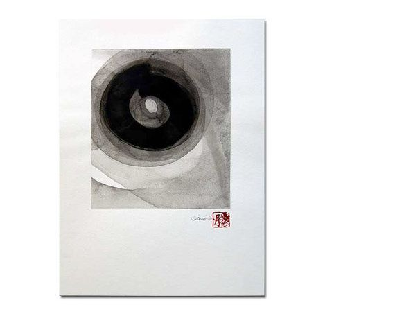Fourteen an original black on white ink wash by Victoria Kloch