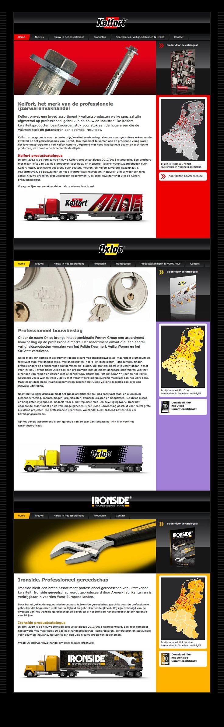 Website design voor Kelfort, Oxloc en Ironside