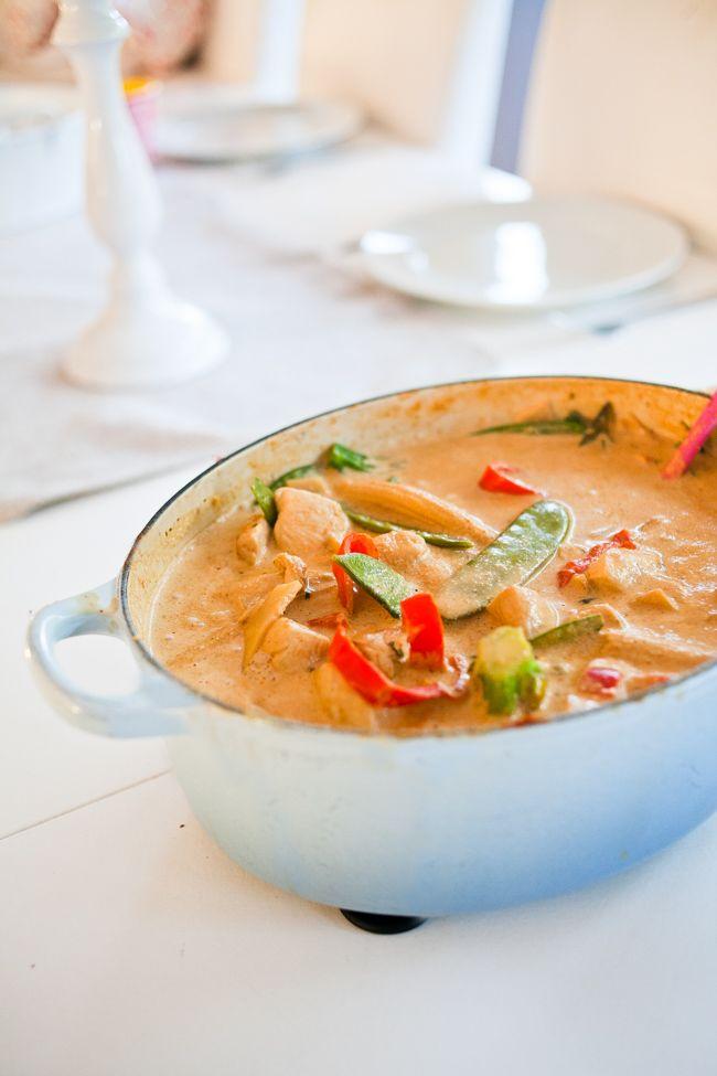 Kycklingwok i röd curry