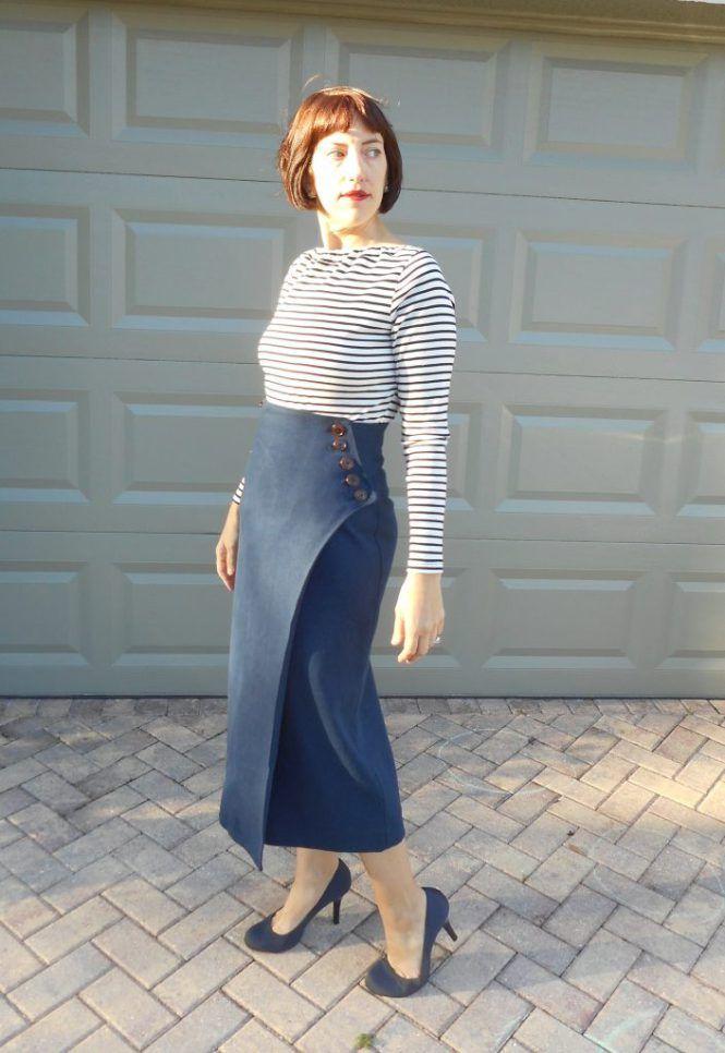 Hemp/Wool Tweed Vogue Wrap Skirt V9209 + Breton Stripe Top - Sew Pomona