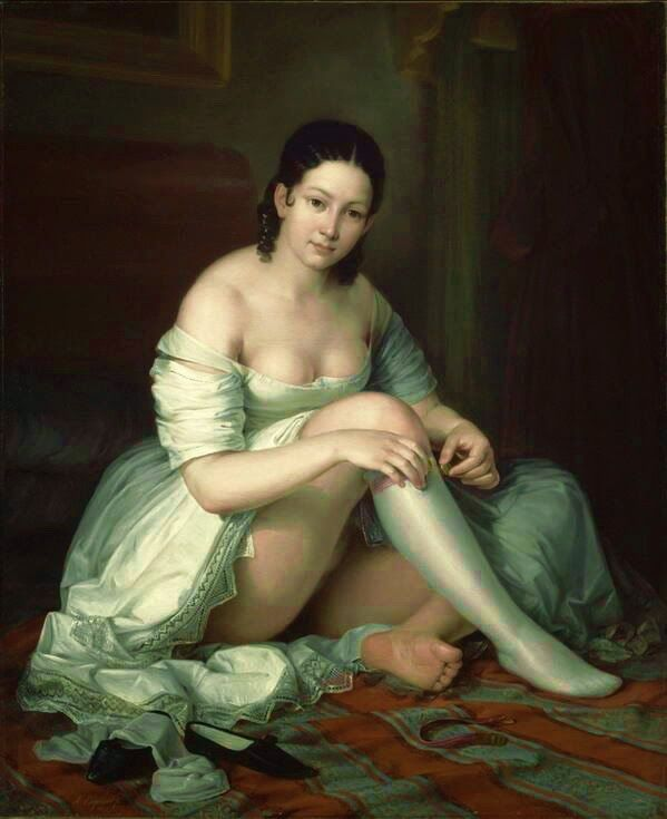 artbeautypaintings:  Young lady taking of her garter - Antonio María Esquivel