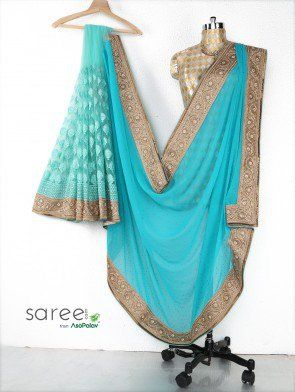 Light Blue Georgette Saree with Zari Embroidery Work