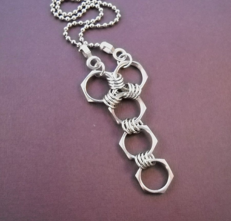 Hex nut pendant with jump rings