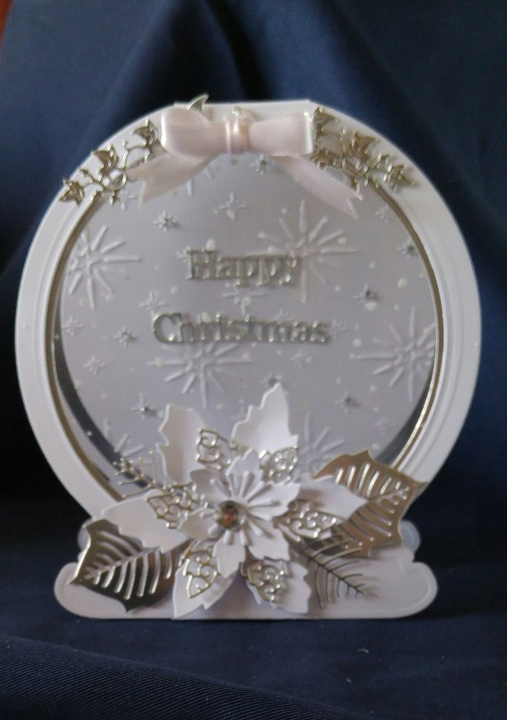 Tattered Lace Snowglobe and Poinsettia card