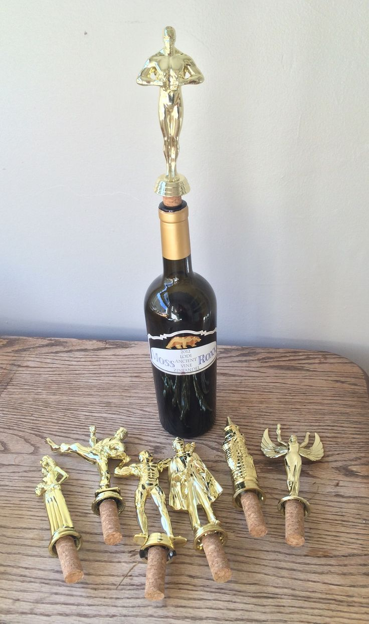 Wine trophies for the company picnic! #diy #homemade #trophy #wine #madebywendy