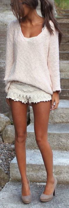 Tipsclass Fashion to night out crochet shorts rare photo