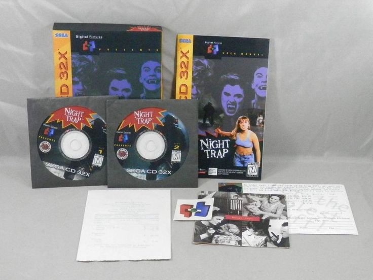Night Trap (Sega CD 32X, 1994) Complete in Box with Tattoo - RARE #Sega